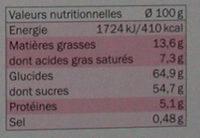 Assortiment de pains d'épices aux 3 chocolats - Informations nutritionnelles - fr