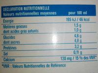 Lait demi-écrémé - Información nutricional
