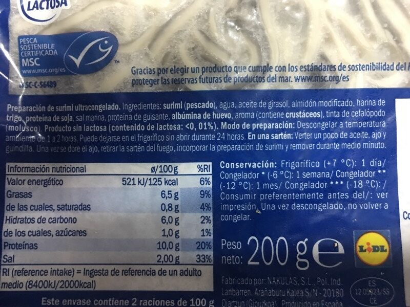 Delicias de mar - Ingredients - es