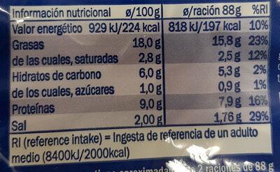 Delicias al Ajillo con Gambas - Información nutricional