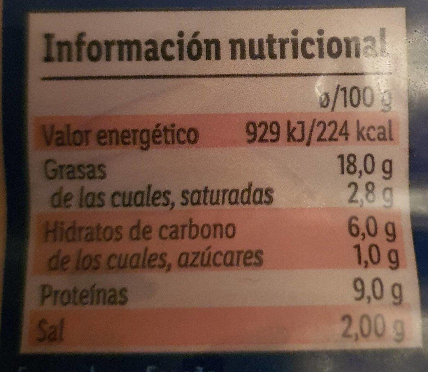 Delicias con gambas al ajillo - Valori nutrizionali - es