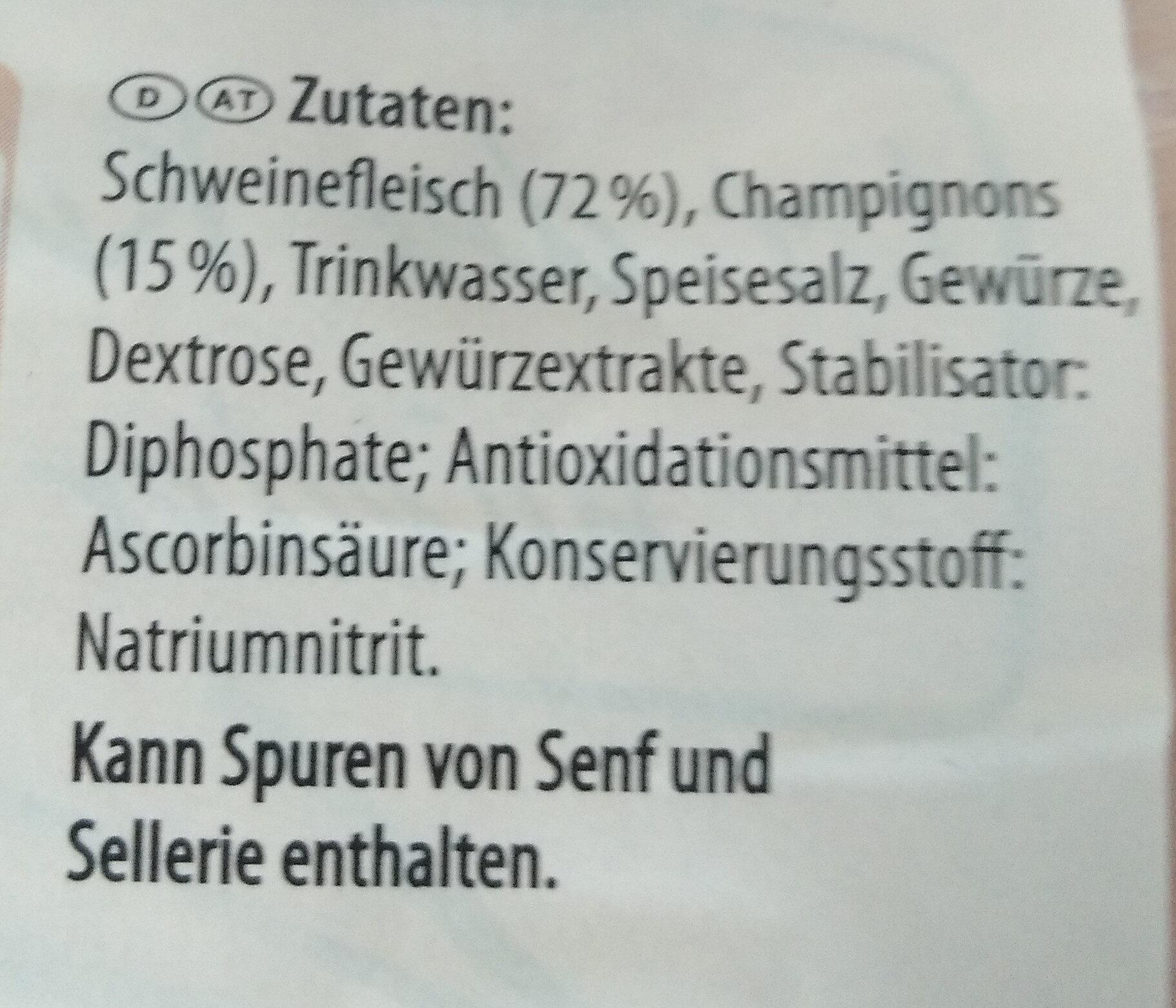 Champignon-Schinkenwurst - Ingredients