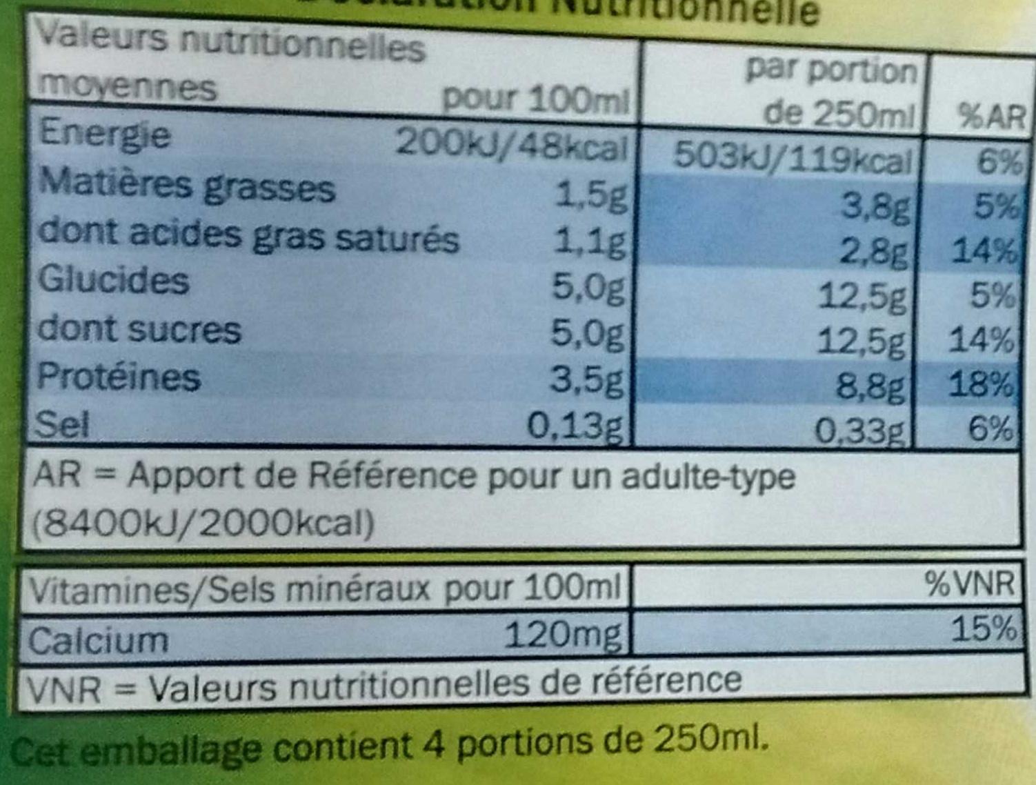 Lait demi-écrémé - Voedingswaarden - fr
