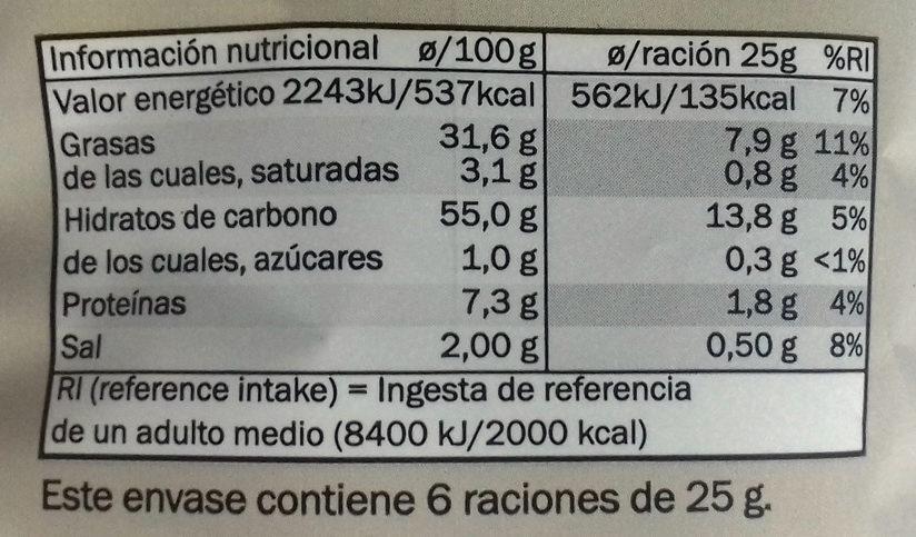 Patatas fritas flor de sal a las hierbas aromáticas - Informations nutritionnelles - es
