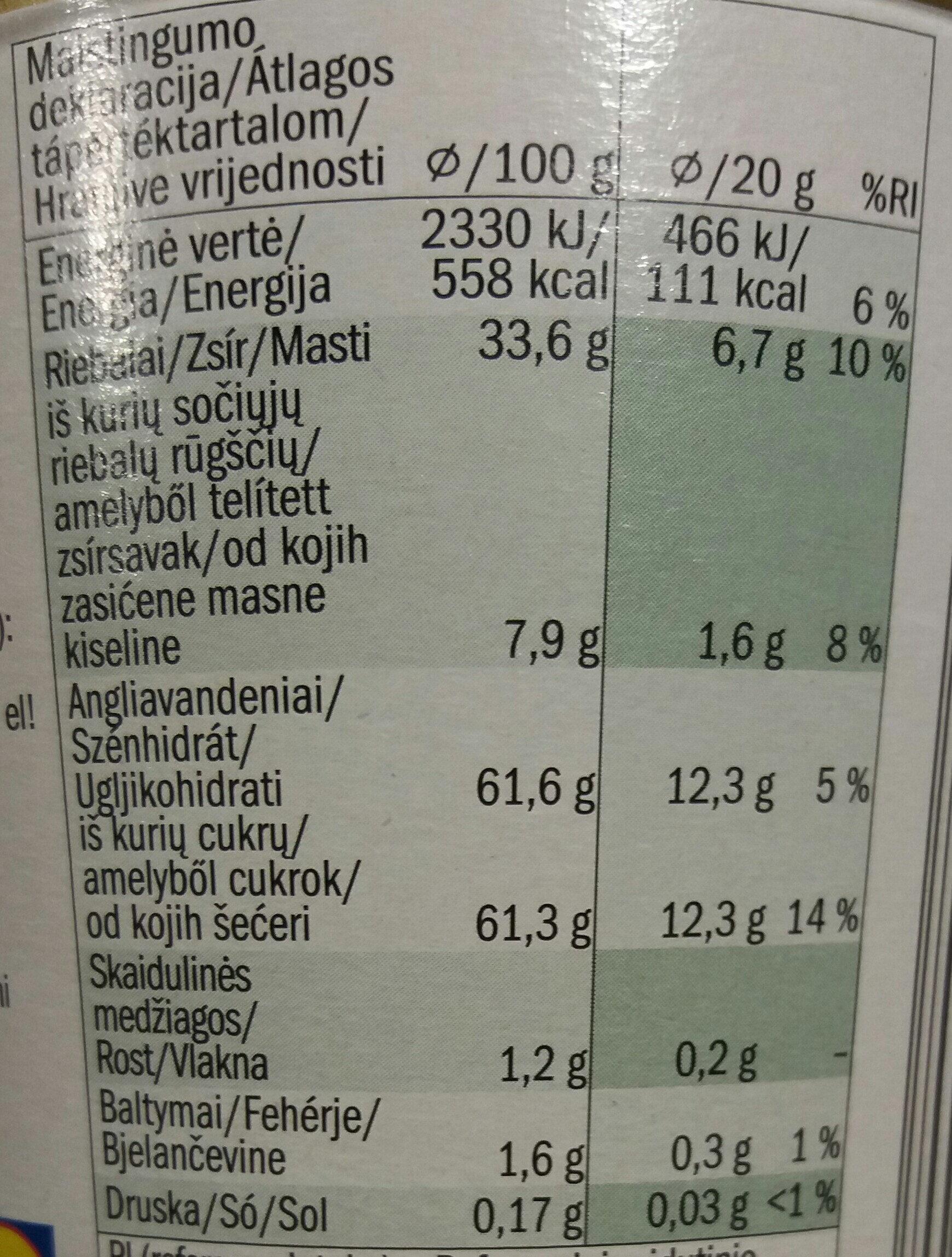 Mogyoró ízű kakaós krém - Nutrition facts - hu
