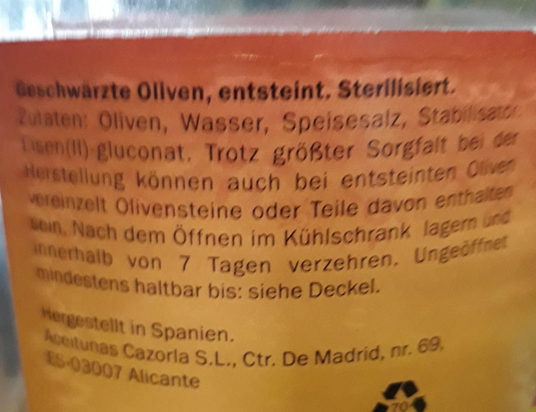 Olives noires dénoyautées - Ingredients