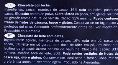 Chocolate con leche - Ingrédients