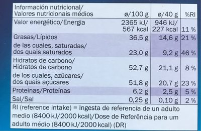 Chocolate con leche - Informations nutritionnelles