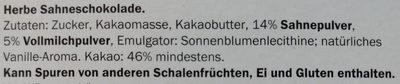 Edel Herbe Sahneschokolade - Zutaten - de