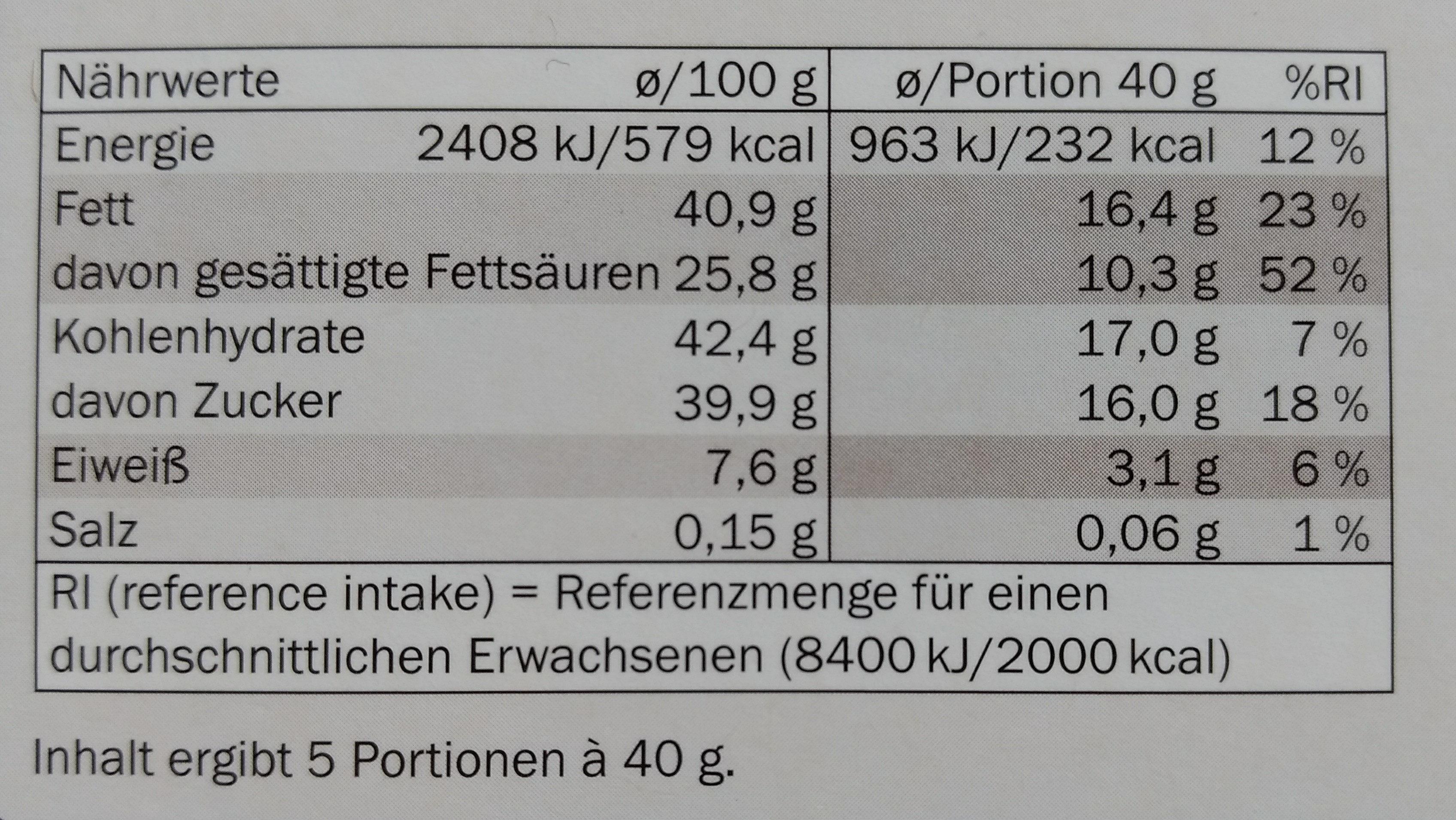 Edel Herbe Sahneschokolade - Nährwertangaben - de