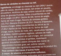 Barres céréales chocolat - Ingrediënten