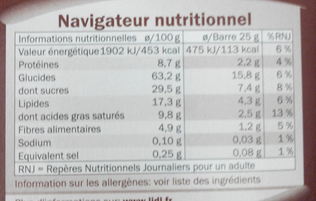 Barres céréales chocolat - Voedingswaarden