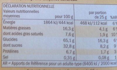 Barres céréales Choco & Banane - Wartości odżywcze