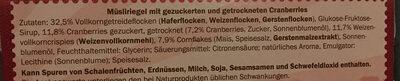 Barres céréales canneberge - Ingredients - en