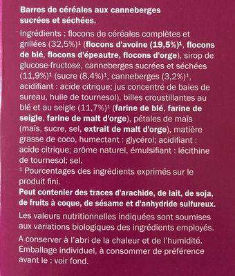Barres céréales canneberge - Ingrédients - fr