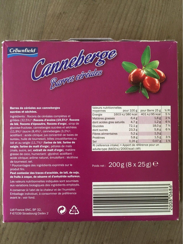 Barres céréales canneberge - Informations nutritionnelles - fr