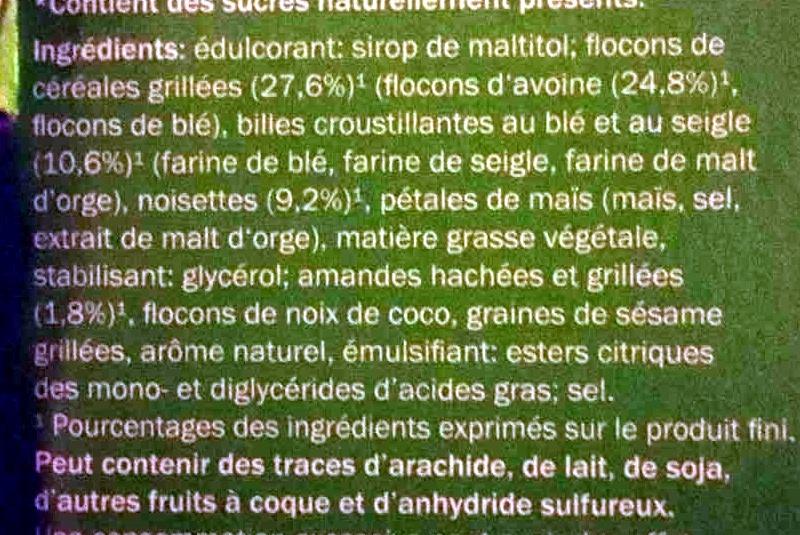 Barres de céréales Noisette - Ingredients