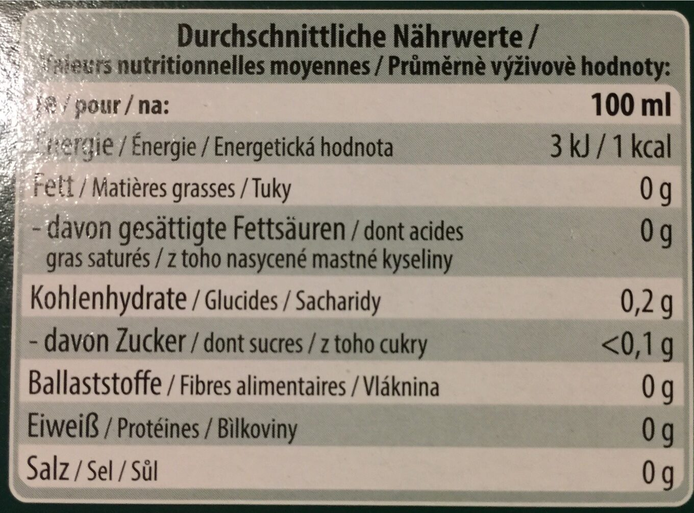 Kräutertee, Pfefferminze - Nutrition facts - fr