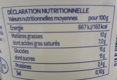 Yaourt - Nutrition facts - fr