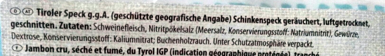 Schinkenspeck, Tiroler Speck g.g.A., St. Alpine - Ingredients