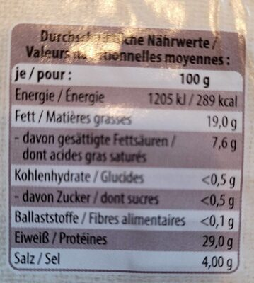 Schinkenspeck, Tiroler Speck g.g.A., St. Alpine - Valori nutrizionali - de