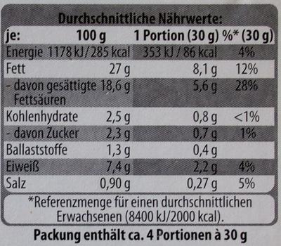 Frischkäsezubereitung mit frischem Schnittlauch - Voedingswaarden - de