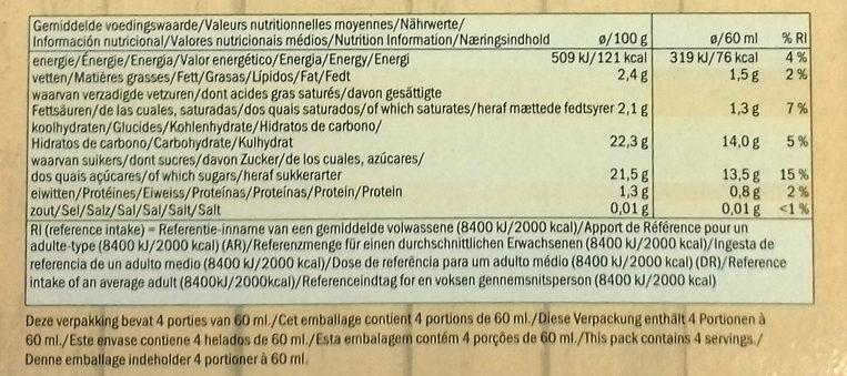 Smoothie Pineapple, banana & Coconut Sorbet Lollies - Información nutricional