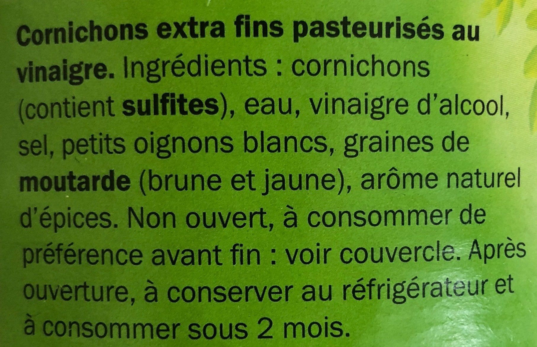 Cornichons - extra fins - Ingredients