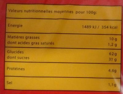Mini fourrés coeur fraise - Nutrition facts