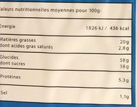 Mini fourrés cœur chocolat - Informations nutritionnelles