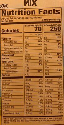 Drink mix - Información nutricional