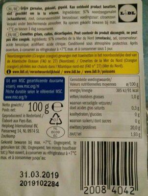 Crevettes grises - Ingrédients