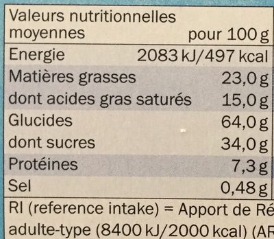 Petit beurre tablette chocolat au lait - Nutrition facts