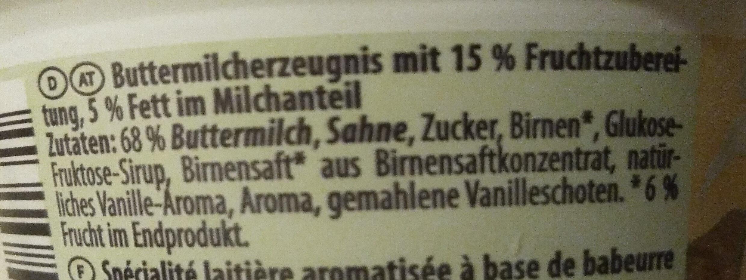 Buttermilch Dessert Birne-Vanille - Ingrediënten - de