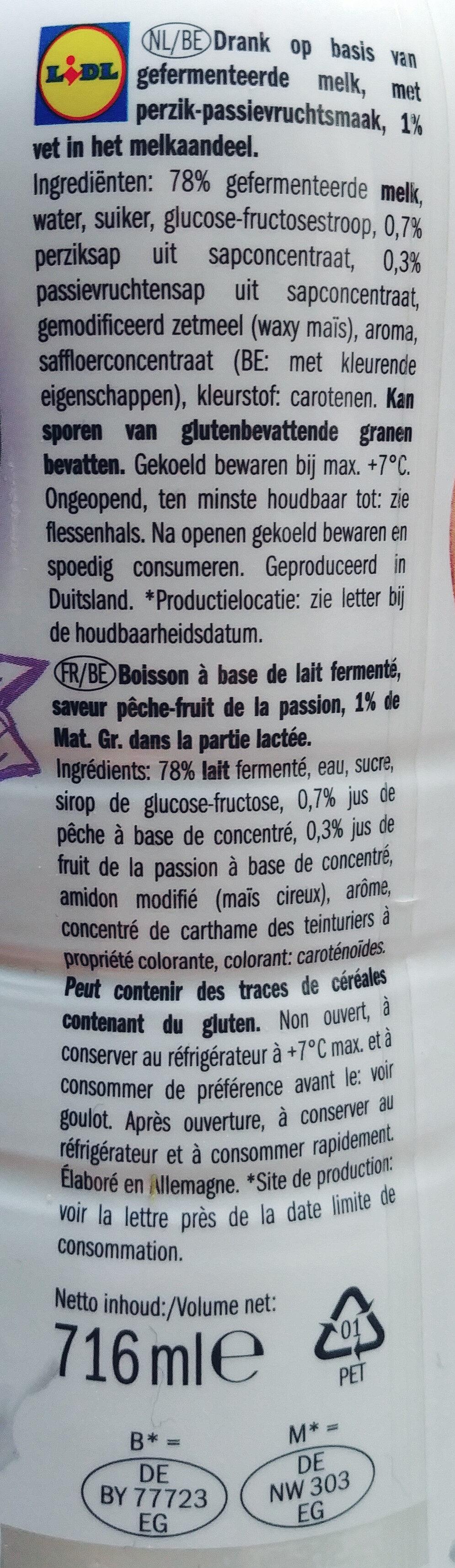 Boisson lactée à base de yaourt aromatisée pêche fruit de la passion - Ingredients