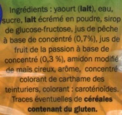 Boisson lactée à base de yaourt aromatisée pêche fruit de la passion - Ingrédients
