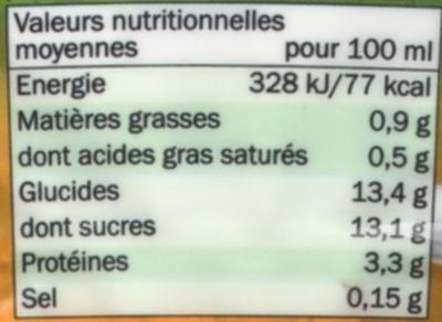 Boisson lactée à base de yaourt aromatisée pêche fruit de la passion - Informations nutritionnelles