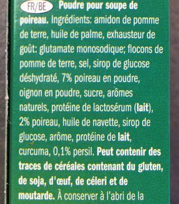 Sachet soupe poireau - Ingrediënten - fr