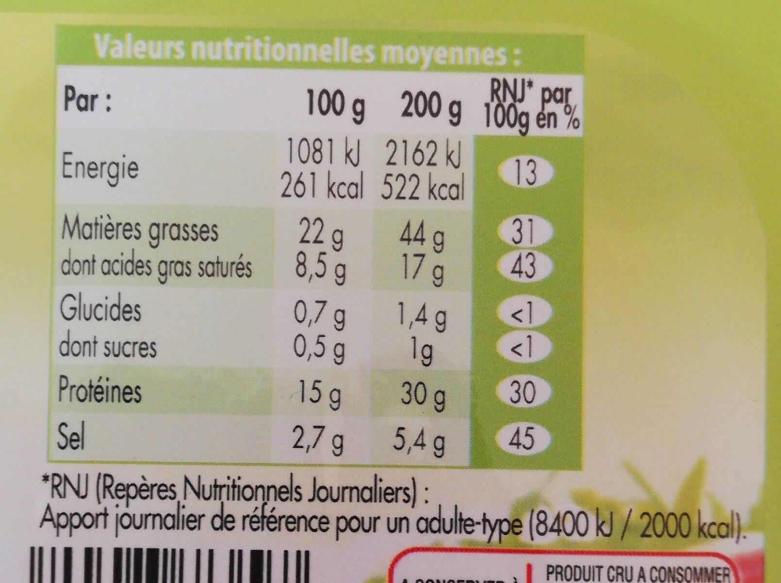 Lardons allumettes - Informations nutritionnelles - fr