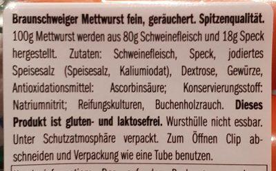 Mettwurst fein - Ingredients - fr