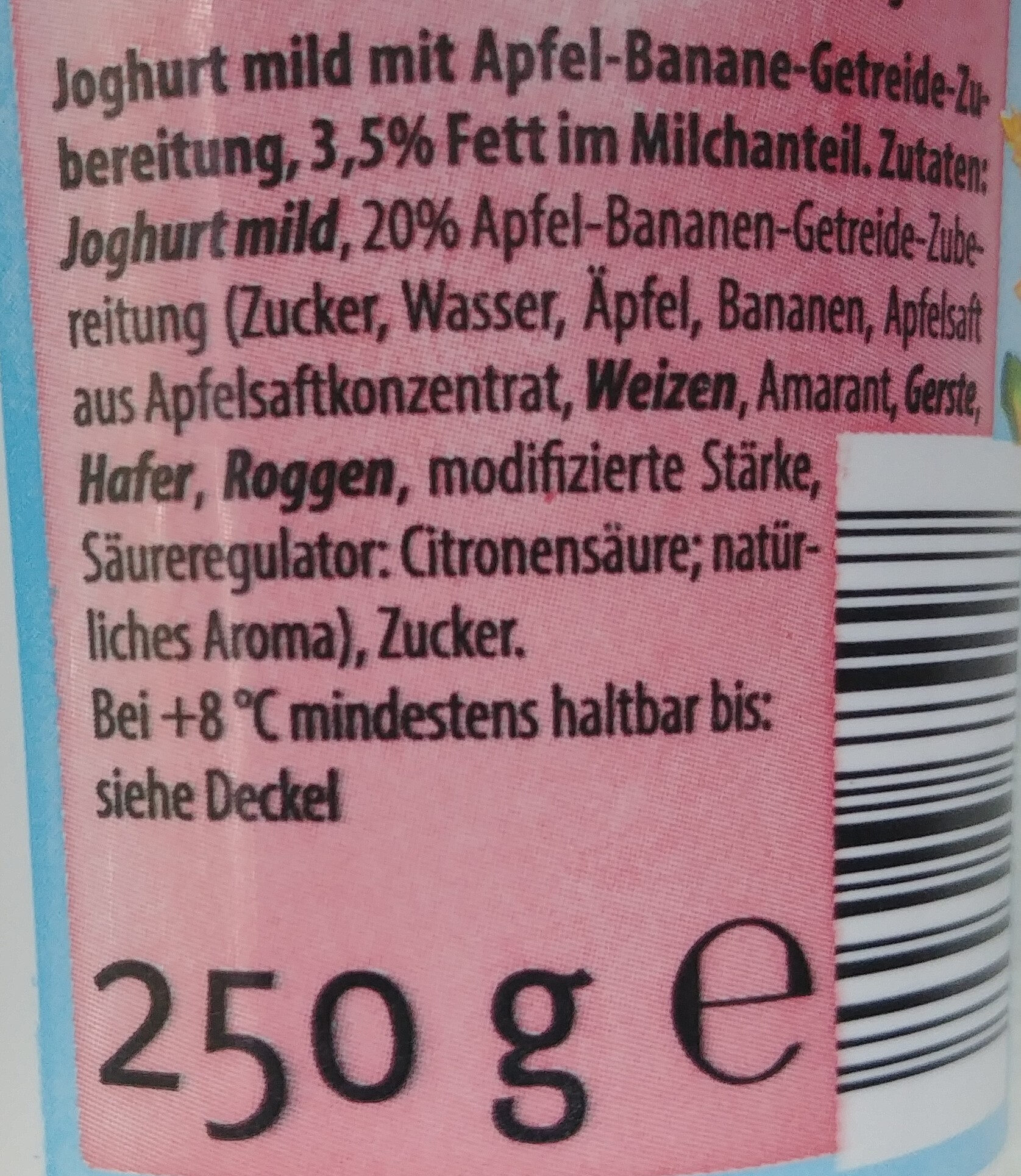 Jogurt mild mit Apfel, Banane, Getreide, Zubereitung, 3,5%Fett - Ingrediënten - pl