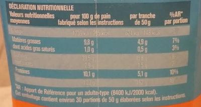Backmischung Sonnenblumenkernbrot - Informations nutritionnelles - fr