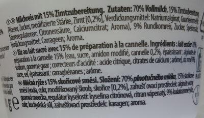 Milchreis  Zimt - Inhaltsstoffe - de