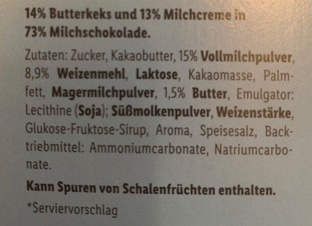 Schoko & Keks Milchcreme - Zutaten - de