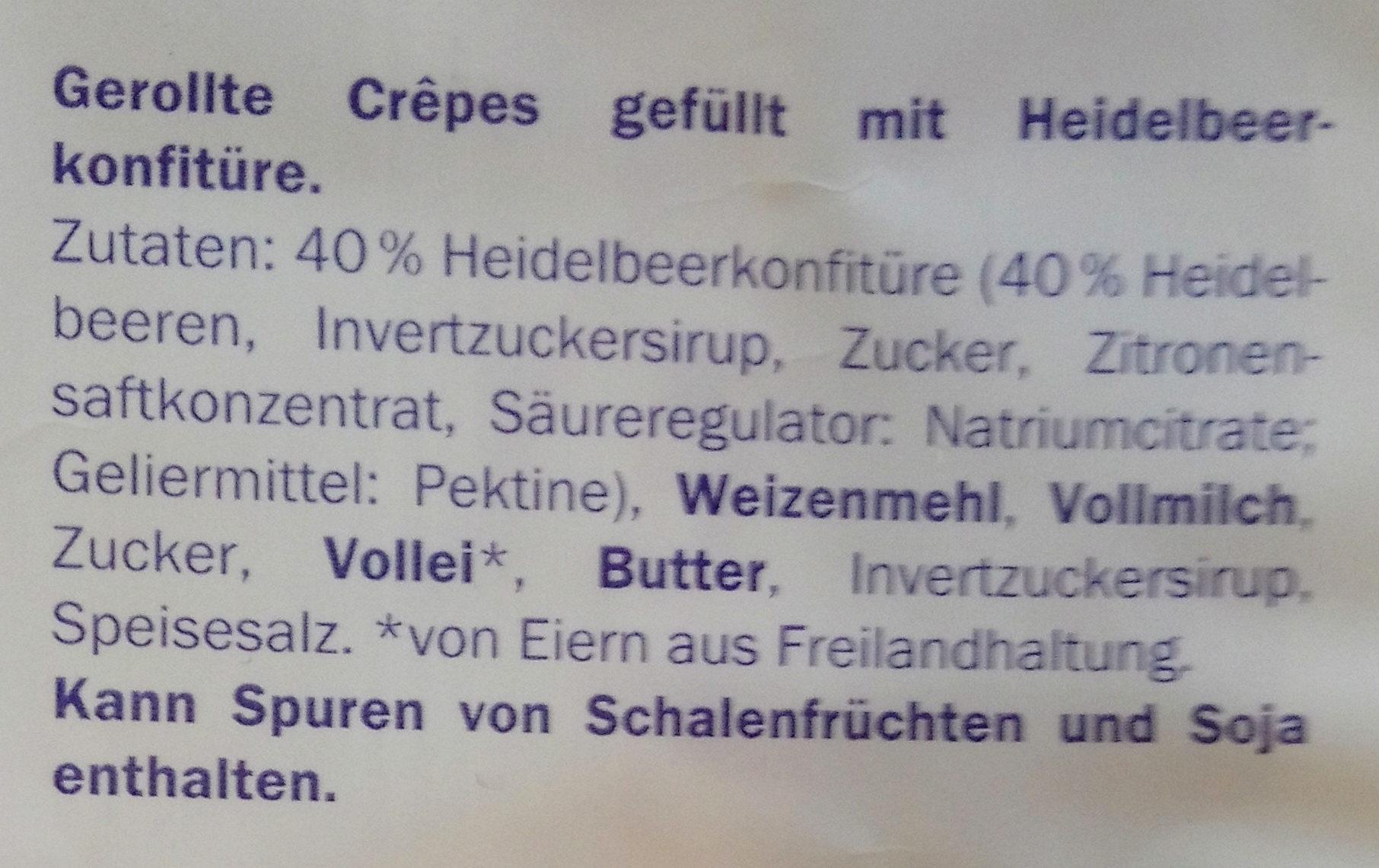 Crêpes gefüllt mit Heidelbeerkonfitüre - Ingredients - de
