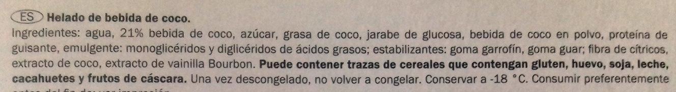 Bombón Coco con bebida de coco vegetal - Ingredientes - es