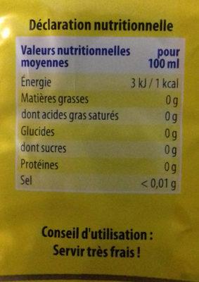 Saguaro saveur citron sans sucre - Nutrition facts