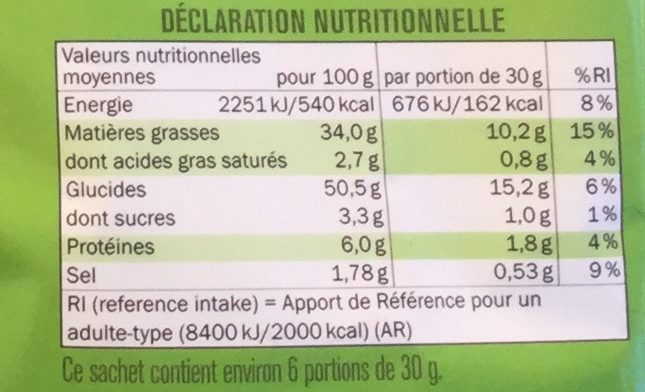 Craquante saveur sour cream & cheese - Nutrition facts