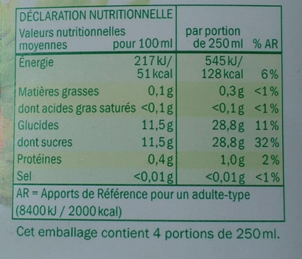 Ananas 100% pur jus - Nährwertangaben - fr