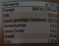 Crefée Meerrettich - Nutrition facts